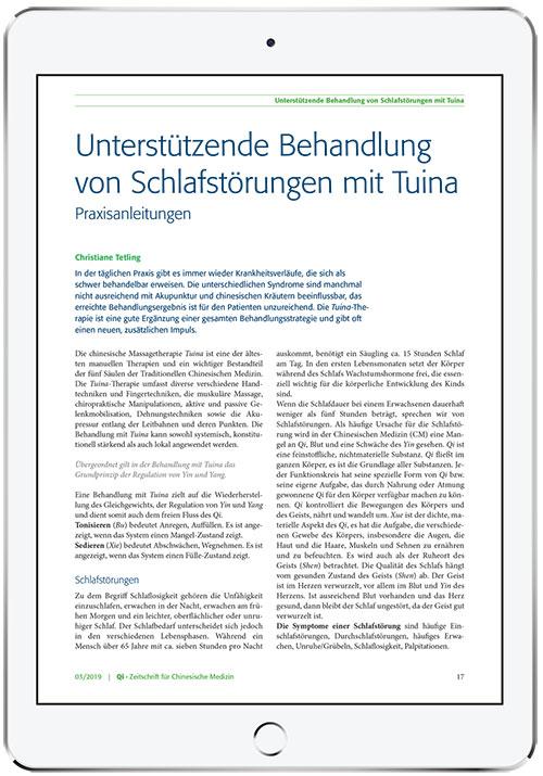 Titelbild Artikel Unterstützende Behandlung von Schalfstörungen mit Tuina Cinesische Medizin